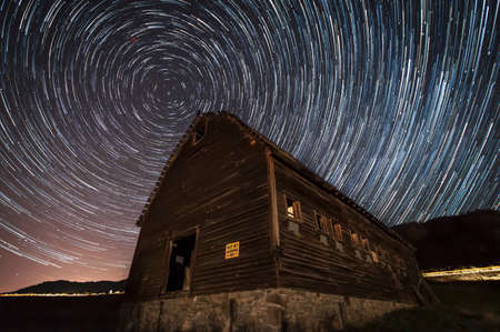 Long exposure of stars in the night sky, Haynes Ranch Buildings Preservation Project, Oliver, British Columbia, Canada
