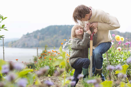 Mature man and son digging organic garden, Orust, Sweden