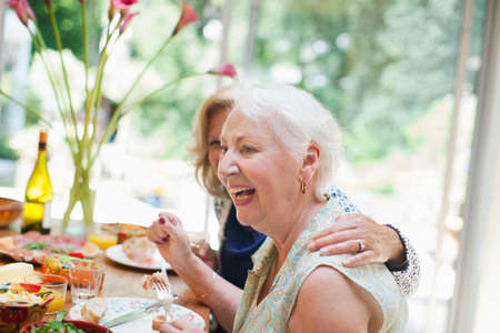 65 69 years: Two women having lunch together at home LANG_EVOIMAGES