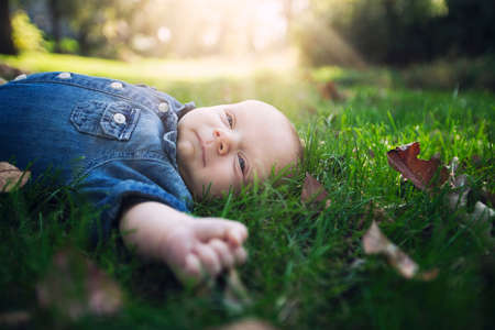 frailty: Baby boy wearing denim shirt lying on autumn leaf covered grass in sunlight looking away
