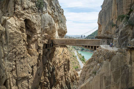 Elevated view of Caminito Del Ray bridge, El Chorro, Malaga, Spain