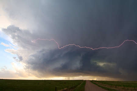 A rotating storm shoots out lightning, North of Seibert, Colorado, USA