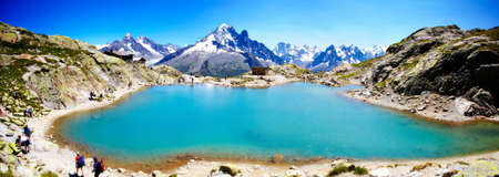Panoramic view of Lac Blanc and snowcapped mountains, Chamonix, France