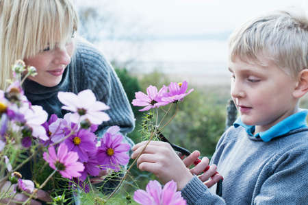 Mother and son cutting flowers in organic garden LANG_EVOIMAGES