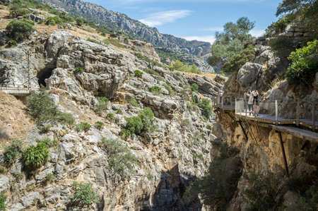 passageways: Elevated view of gorge and walkway at Caminito Del Ray, El Chorro, Malaga, Spain LANG_EVOIMAGES