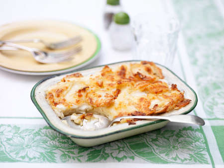Potato gratin in vintage tin