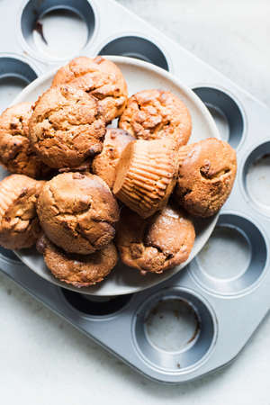 tempted: Muffins on plate, overhead view