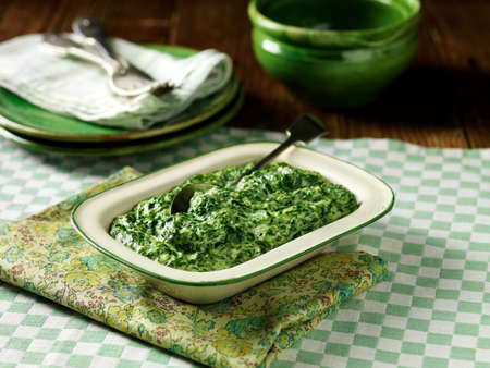 Creamed spinach in vintage tin