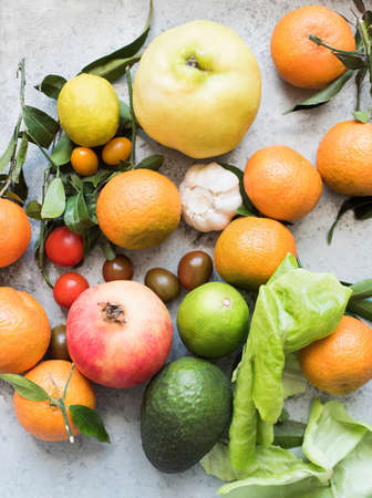 in low spirits: Overhead view of colourful fruits and vegetables