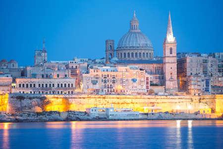 Valletta skyline at dusk, Malta
