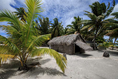 environmental issues: The Pastors house in the settlement of Palmerston on Palmerston Atoll, Cook Islands