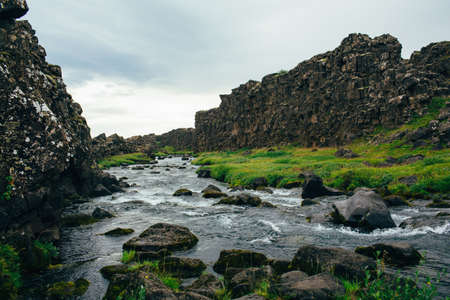 Water flowing over rocky riverbed, Iceland