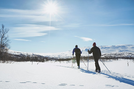 65 69 years: Two senior men cross country skiing,Hermavan,Sweden