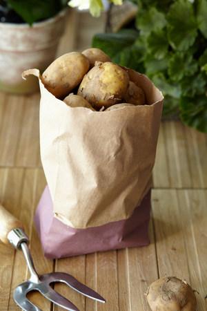 pitchfork: Raw potatoes in brown paper bag