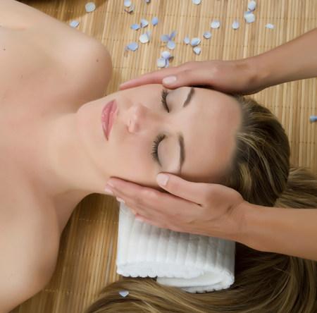 holistic view: Close up of woman having head massage