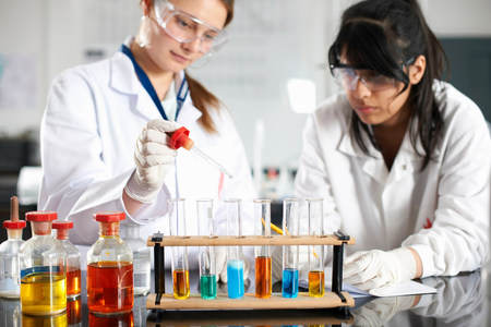 test tube holder: Two chemistry students doing experiment