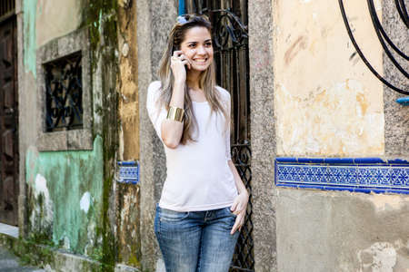 brazilian ethnicity: Young woman on cell phone,Rio de Janeiro,Brazil