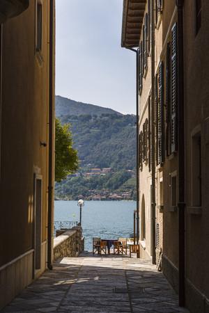 orta: Street view of Lake Orta,San Giulio Island,Italy