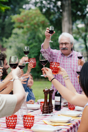 Senior man making a toast at family meal LANG_EVOIMAGES