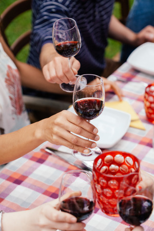 People raising glasses of red wine LANG_EVOIMAGES