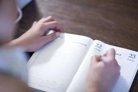 numeric: Close up of female writing in diary