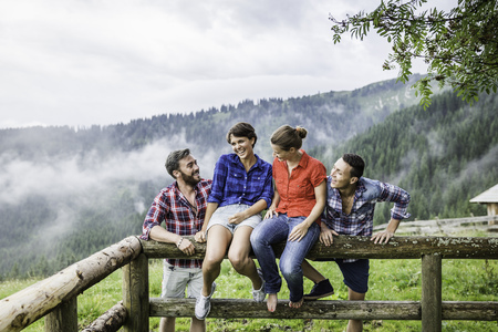 Portrait of four friends,Tyrol Austria