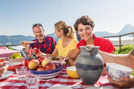 Friends enjoying breakfast,Tyrol,Austria