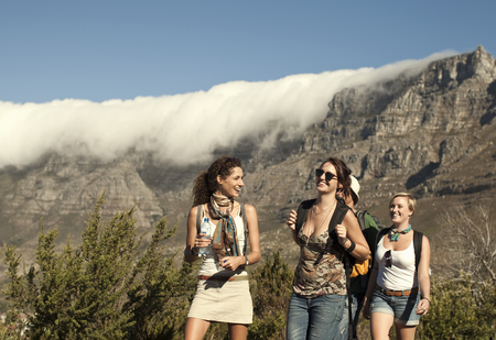 Friends backpacking,Table Mountain,Cape Town,South Africa