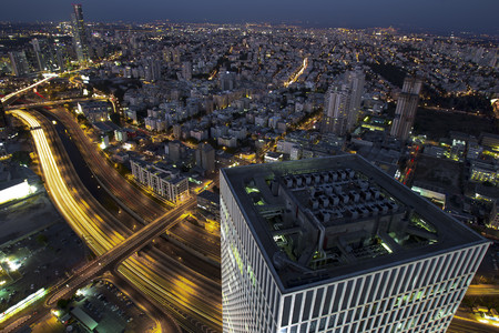 Aerial view of Tel Aviv,Israel Looking North. Azrieli tower in the foreground