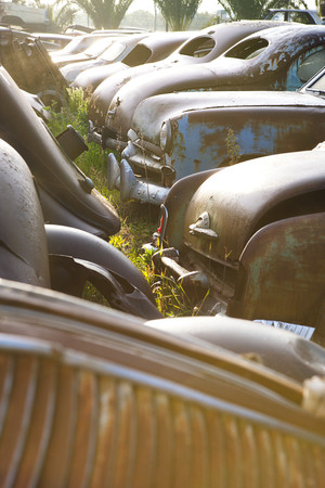 Vintage cars abandoned in scrap yard