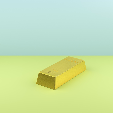 numeric: Still life of gold bar on green and blue background LANG_EVOIMAGES