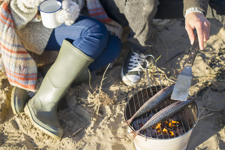 brean: Cooking fish on the beach