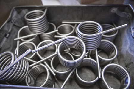 Large amount of springs in testing laboratory, close up