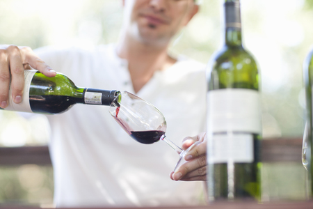 Young male waiter pouring red wine at vineyard bar LANG_EVOIMAGES