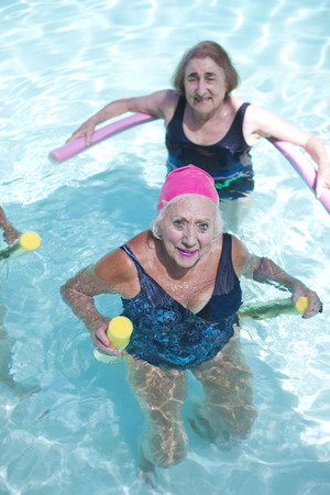 65 69 years: Portrait of senior women doing exercise in swimming pool LANG_EVOIMAGES