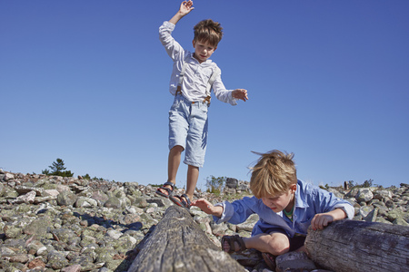 only boys: Two boys playing on driftwood on beach LANG_EVOIMAGES