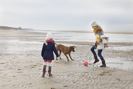 3 4 years: Mid adult woman with daughter and dog playing football on beach, Bloemendaal aan Zee, Netherlands