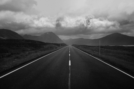 scottish straight: Black and white image of straight road and mountains, Scottish Highlands, Scotland