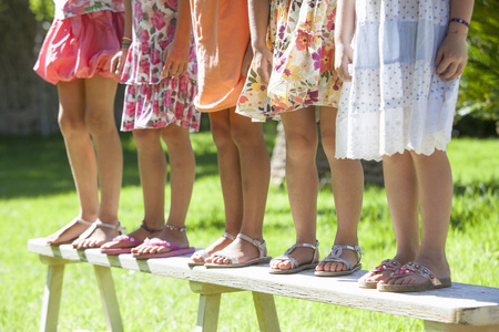 top 7: Cropped shot of the legs of five girls standing on garden bench