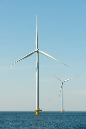 Off shore wind turbines on IJsselmeer lake,Netherlands