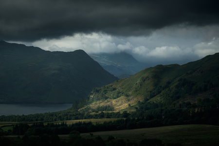 cumbria: Ullswater and storm clouds,The Lake District,UK