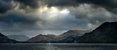 cumbria: Panoramic view of Ullswater lake,The Lake District,UK