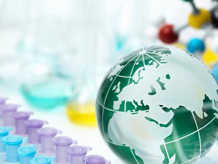 test tube holder: Globe with test tube holder,flasks and molecular model