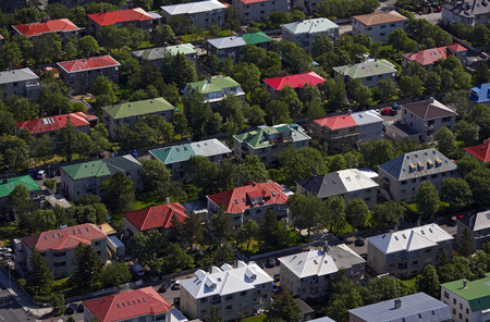 conforms: Aerial view of colorful houses