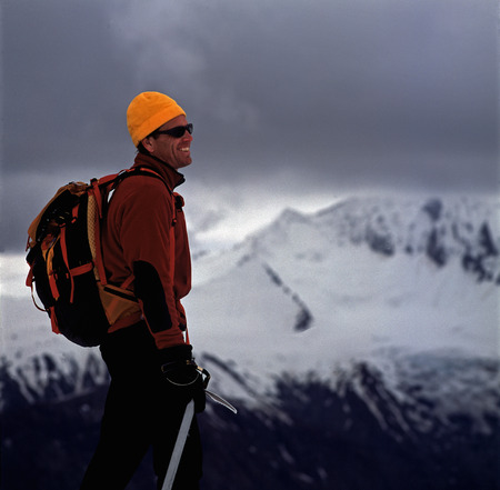 Hiker admiring rural landscape
