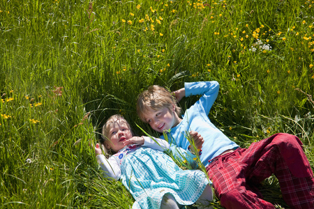 gratified: Children laying in field of flowers