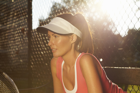 poised: Tennis player poised on court
