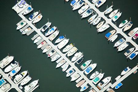 Boats moored at jetty, Newport County, Rhode Island, USA