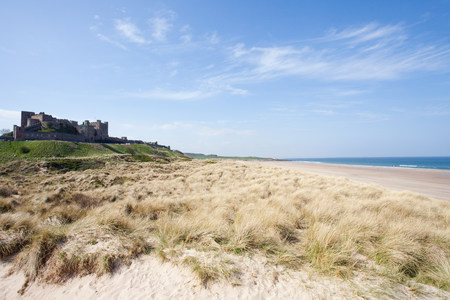 Banburgh castle and beach,Northumberland,UK