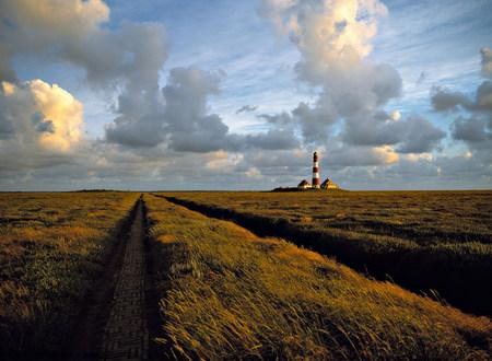 westerhever: Westerhever lighthouse in marshland,Schleswig-Holstein,Germany